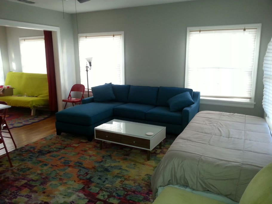 Living room with twin daybed.  Better pictures are coming soon.