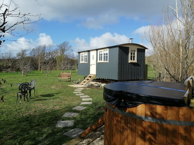 Willow Tree Shepherd's Hut with Hot tub