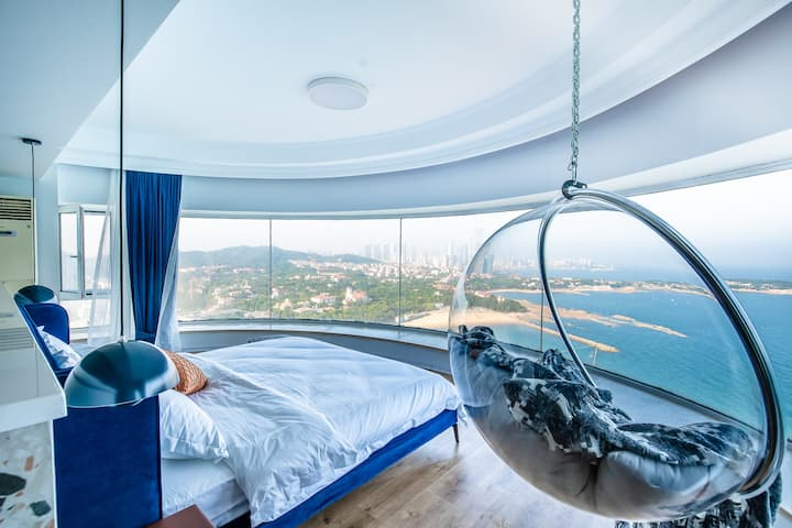 【整屋消毒】安邸.水云游|6米开间270度落地窗海景|沙滩|躺在床上看日出大关公主楼 中山公园