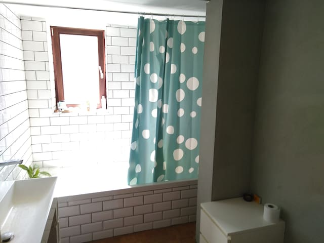 Shared bathroom (shower, tub, toilet and sink)