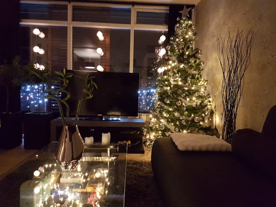 Living Room at night with Christmas Decoration