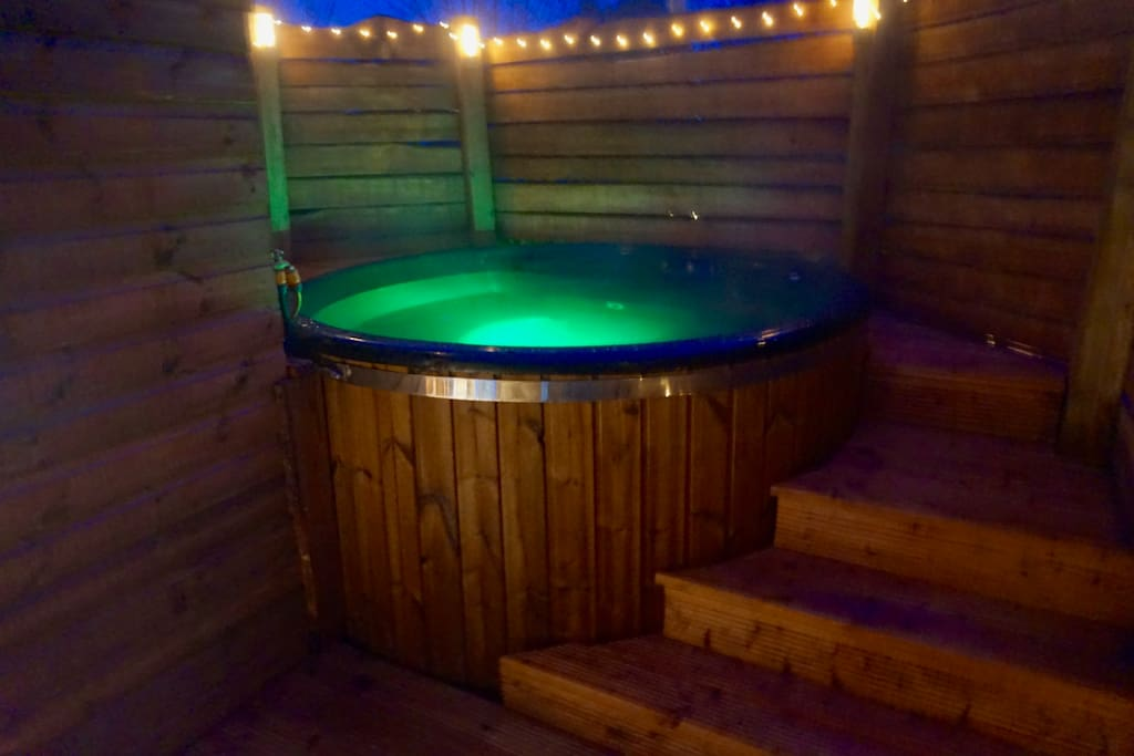 Our Himalayan sea salt water hot tub .. a recipe for complete relaxation. No extra charge.