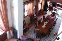 The dining room from the first floor balcony.