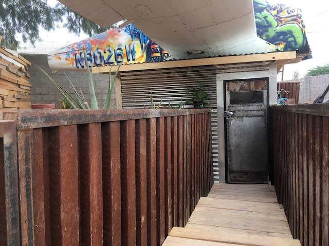 The walkway to the front door.