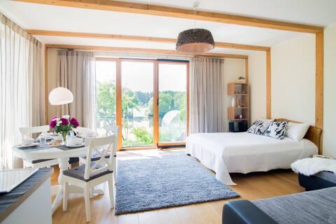 Riverside apartment with sauna