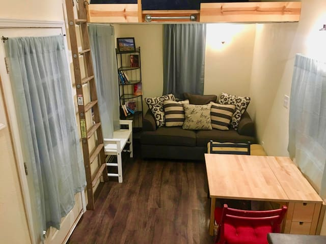 living room with table half extended