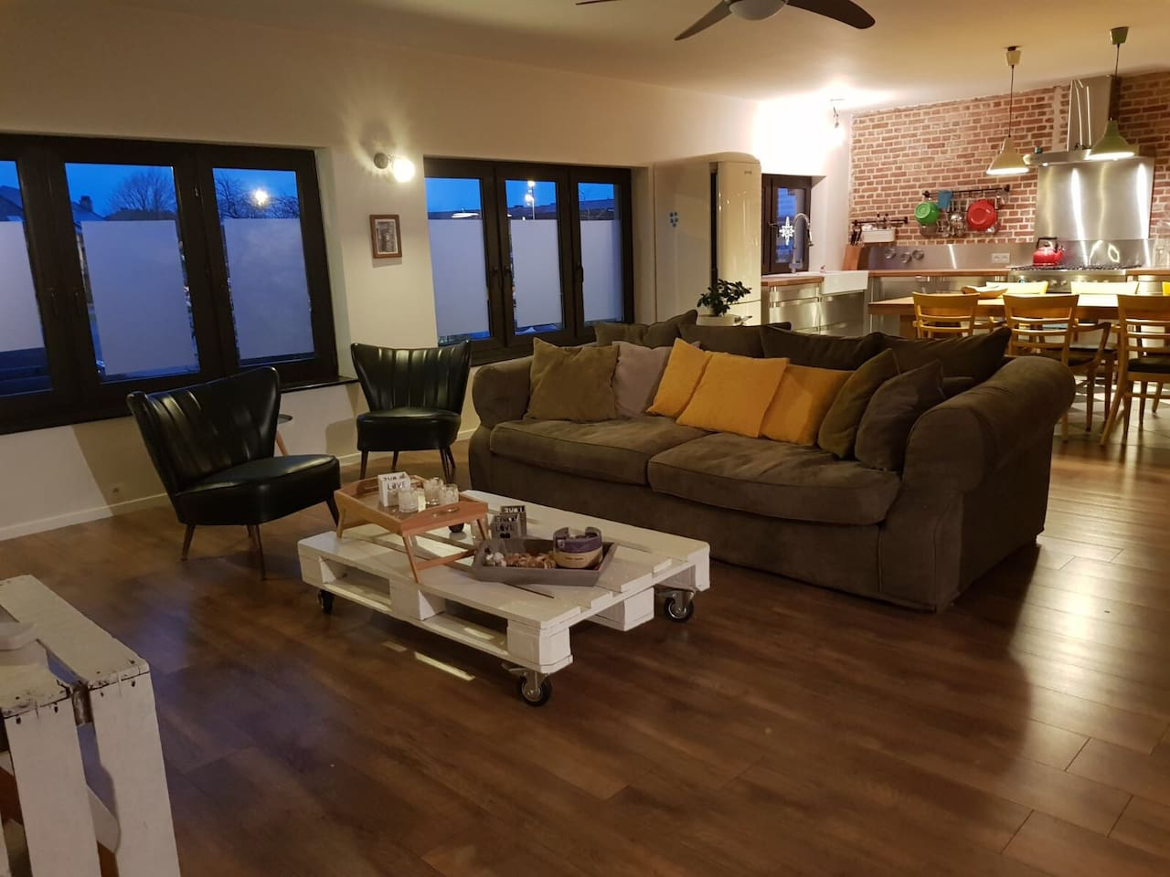 Kitchen, living and relaxing area..