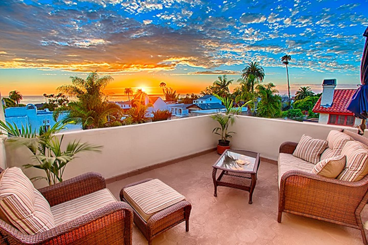 Enjoy amazing sunset and ocean views from the upper deck.