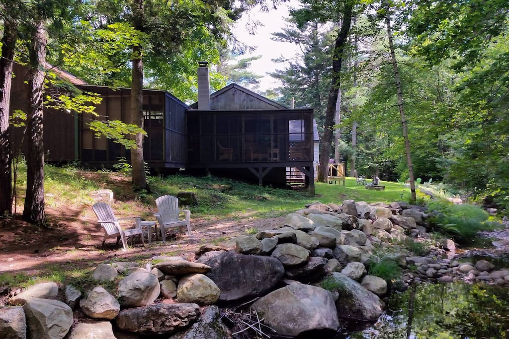 L-shaped screen porch, view from swimming hole