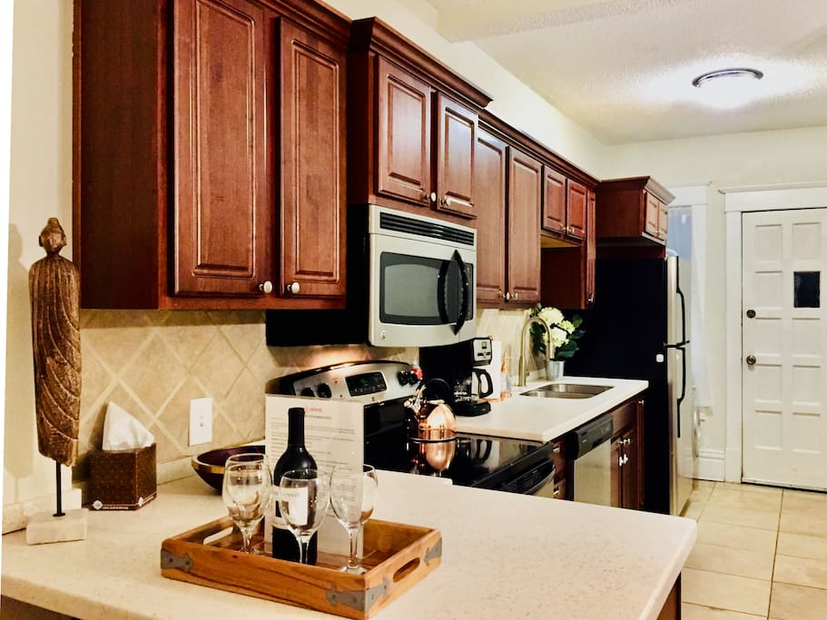 Good size kitchen equipped with everything you need to prepare meal or snack