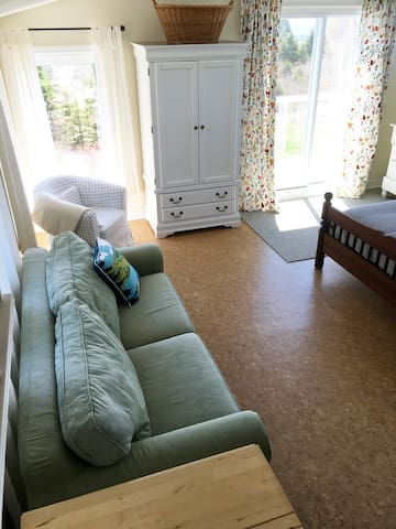 Sofa pulls out into a double bed.