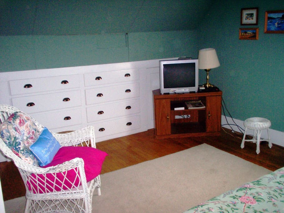 End of bedroom with TV, DVD player (free movies on site)