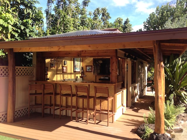 Relax poolside at the Tiki Bar with Flat Screen TV