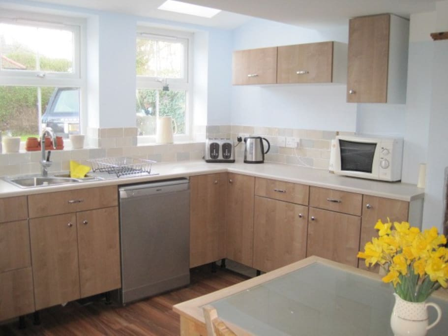 Bright Kitchen Diner with Woodburner
