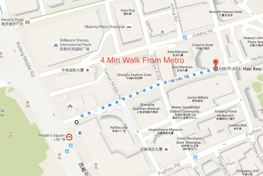 As you can see its only 4 mins walk from Peoples Square Metro. Very Convenient To Airports, Trains, and Other Tourist Destinations In Shanghai