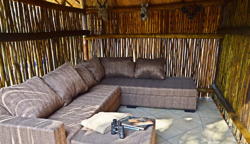 Outside, undercover relaxation area