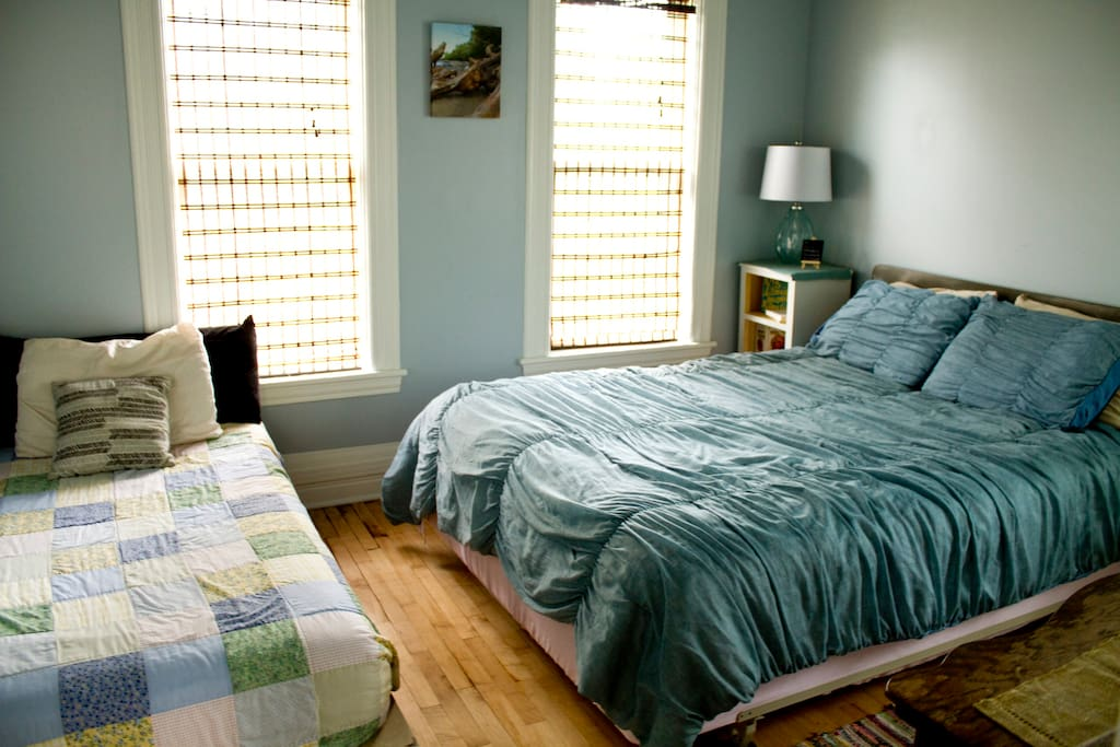 The Blue Room: 1 Queen size bed 1 Twin bed  Access the back deck through this room!