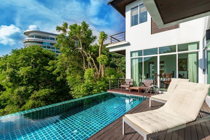 Karon seaview 3 bds pool villa walk to beach 5mins