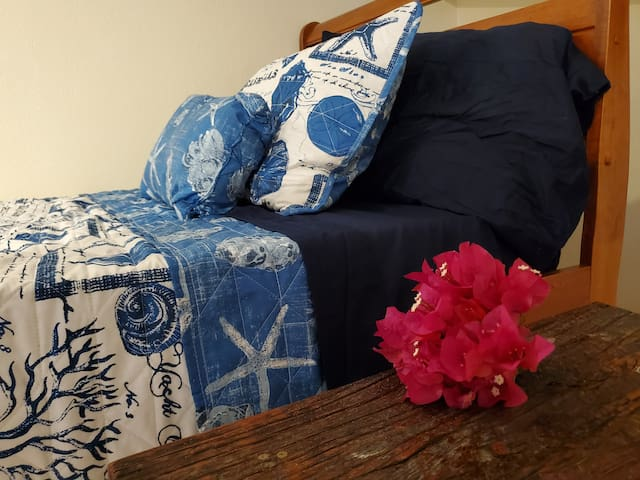 A Twin Bed in the upstairs bedroom is great for visiting guests or kids.