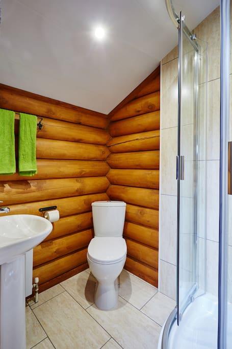 Чистый санузел и душевая кабина в номере