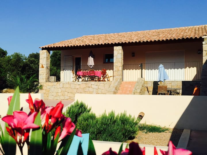 Villa Rossa prés plage de Santa Giulia piscine