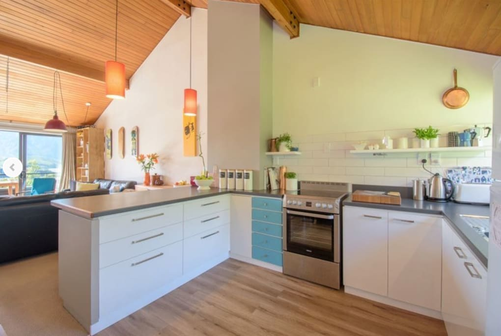 Open plan kitchen and living upstairs