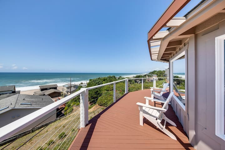 New listing! Updated, dog-friendly home w/ great decks & stunning ocean views!