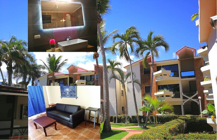 Pet-friendly family apartment with pool & balcony