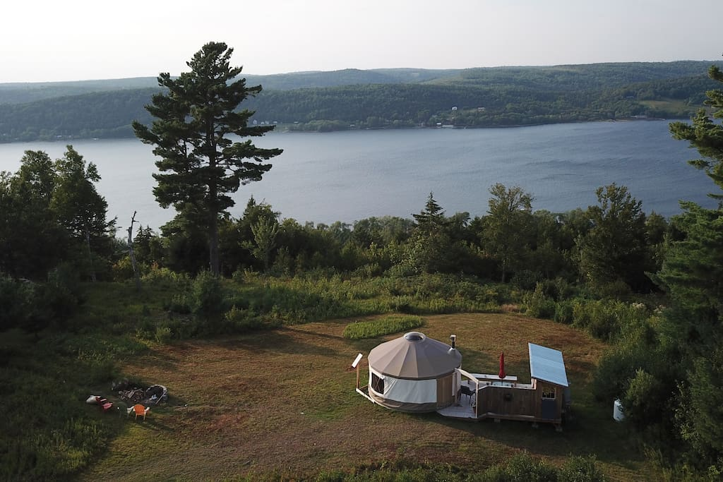 Drone footage of yurt overlooking the beautiful Belleisle Bay, conveniently located behind the Bate's Wedding Barn.