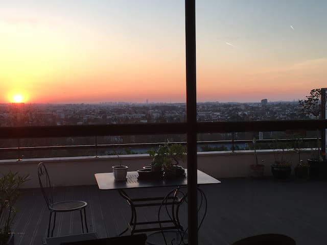 Apt  with terrace and panoramic view over Paris