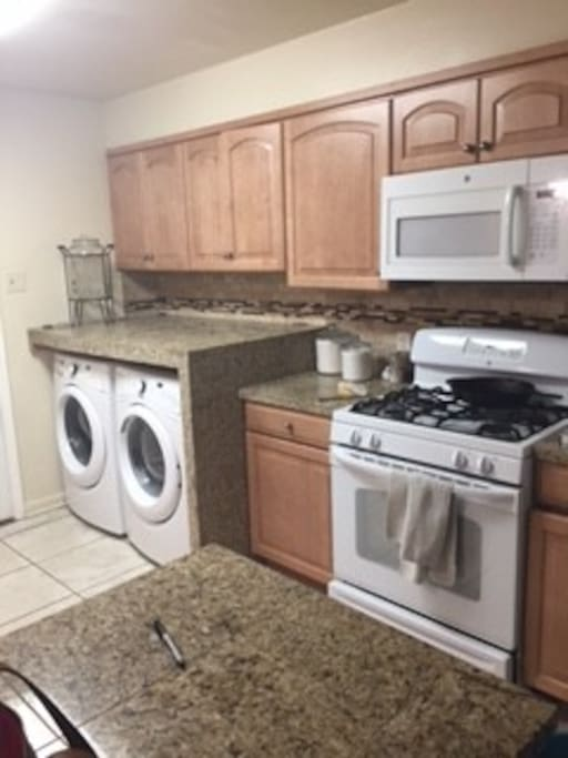 Washer and dryer included. Dishwasher, oven