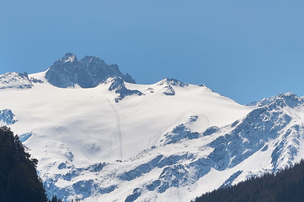 Close up on the Aiguille du Tour seen from Studio, possibility to go ski touring or heliskiing to this spot
