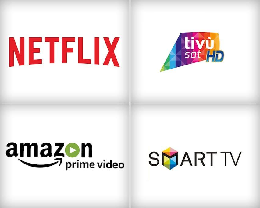 Smart Tv with Netflix, Amazon prime video, Tv Sat.