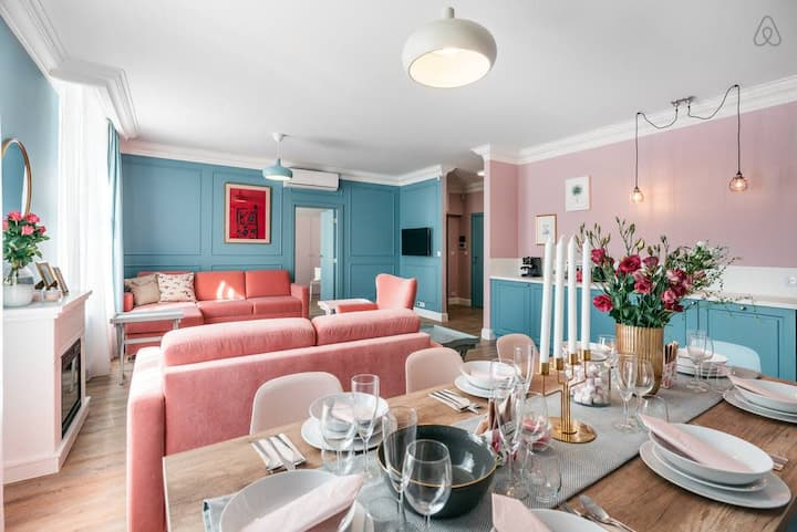 Enjoy this incredible pastel universe in cute modern home by Market Square