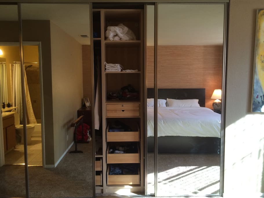 Master bedroom with closet view