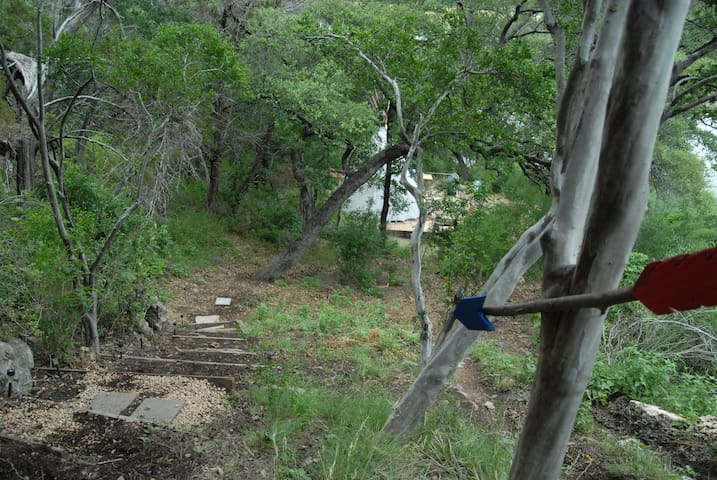 A portion of the steps on the steep hike down