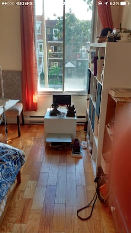 Sunny bedroom in Villeray, Montreal