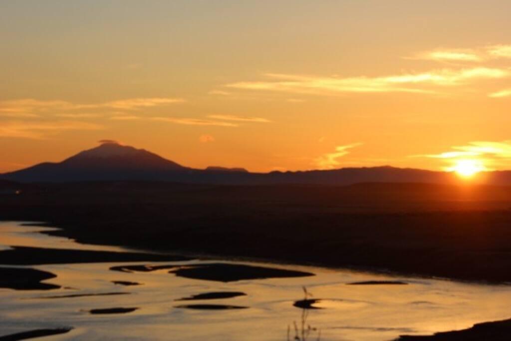 Sunset, Þjórsá river and Hekla