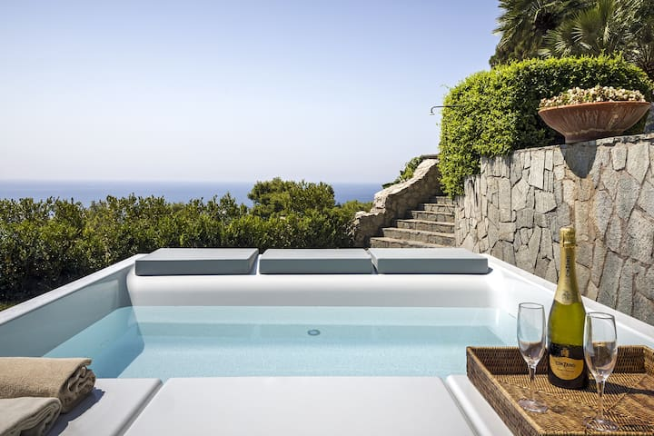 Villa Afrodite with Sea View, Jacuzzi, Garden and Parking near the Sea