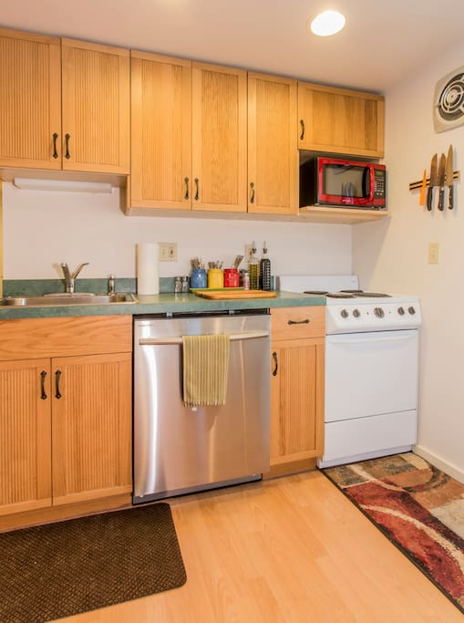 Use the fully equiped kitchenette for anything from microwave popcorn to a fully cooked meal.  Fridge, microwave, stove, dishwasher, cookware and dinnerware included!