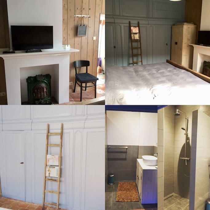 Slaapkamer en badkamer met inloopdouche