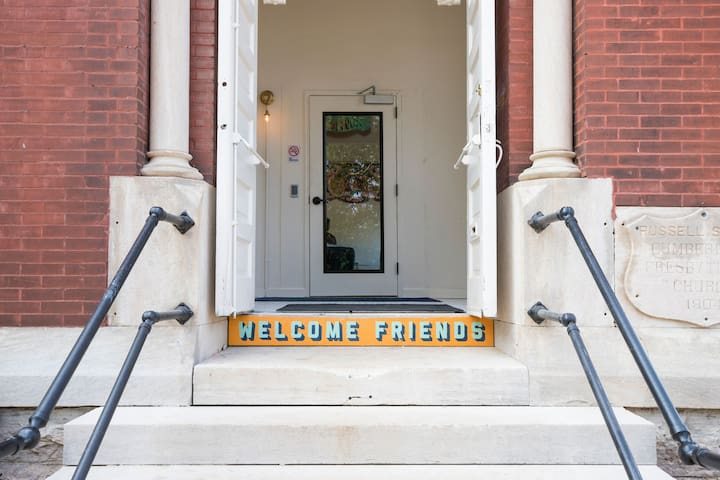 Welcome Friends entry signage