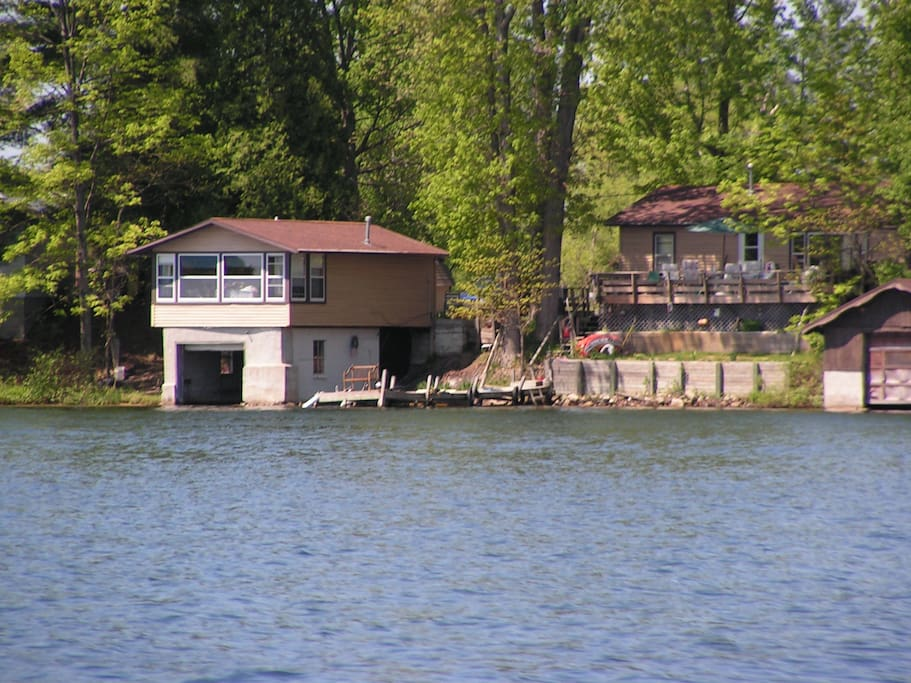 Lake view of boathouse & my home next door
