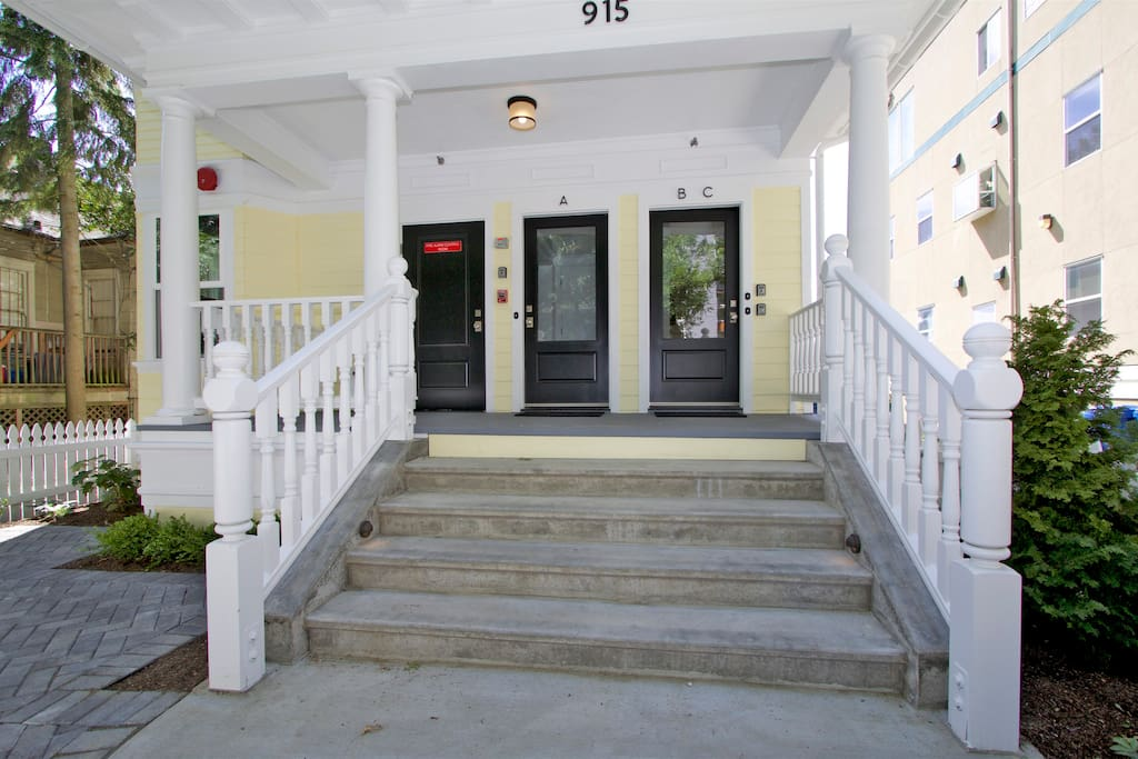 Front Porch Leads to Staircase up to Unit