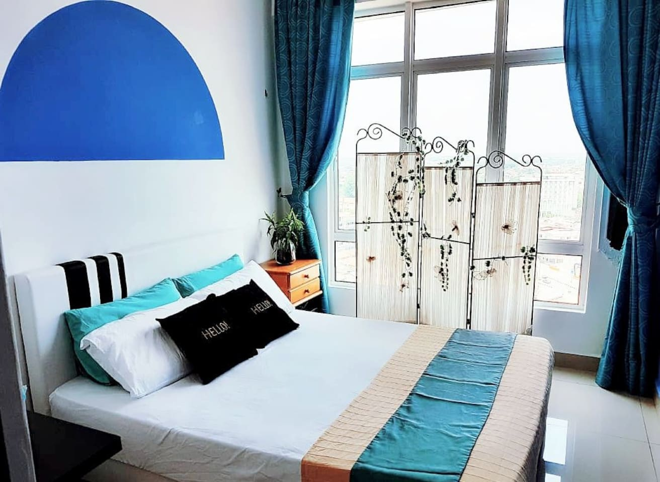 room 2 santorini theme this is photo after we repainted d wall.