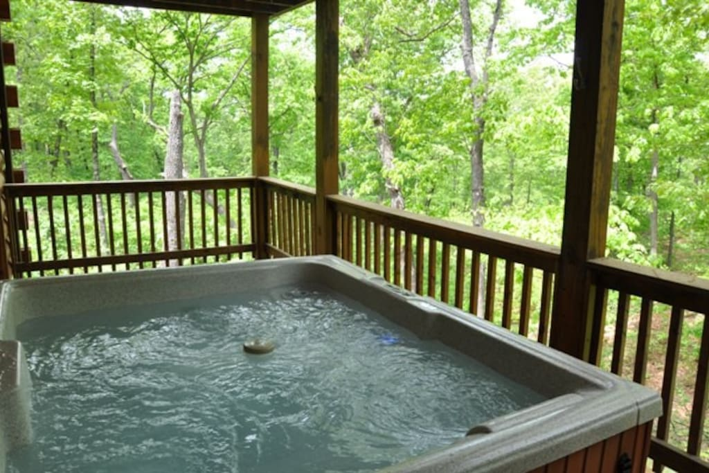 Salt water glistening Hot tub awaits you on the large back deck