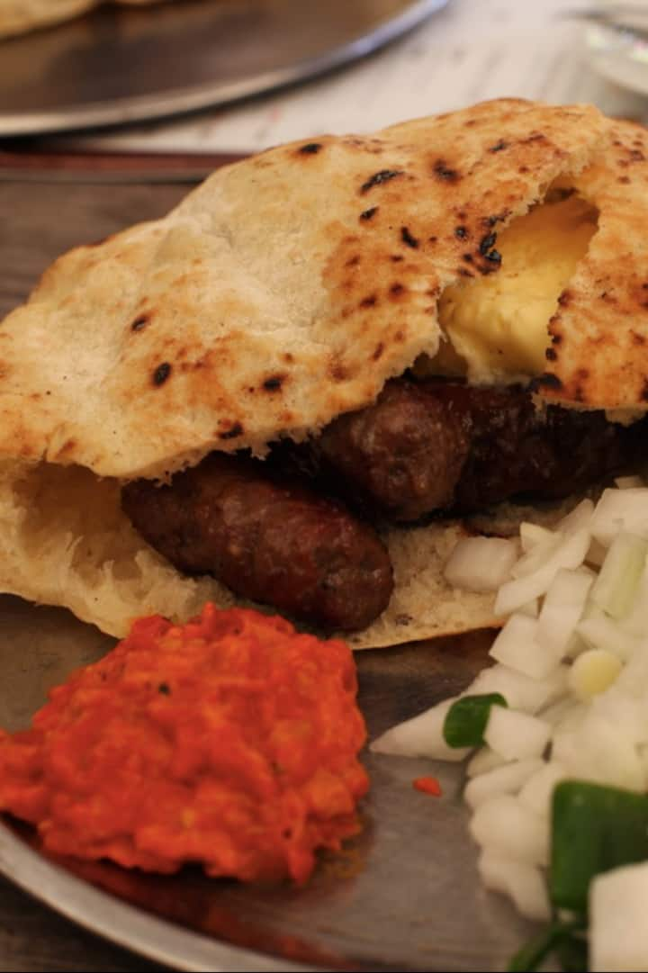 Ćevapi with Ajvar and Kajmak