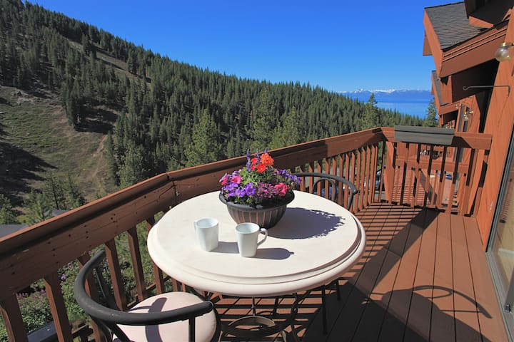 Breathe in the fresh mountain air...this modern, completely refurbished 2 bedroom/ 2 bath retreat awaits!  Perched over Diamond Peak, this mountain retreat is within minutes of the lake and all there is to see and do in Tahoe.  Cozy, modern, well-equipped with luxury bedding and hotel quality linens, this is a place you won't want to leave!