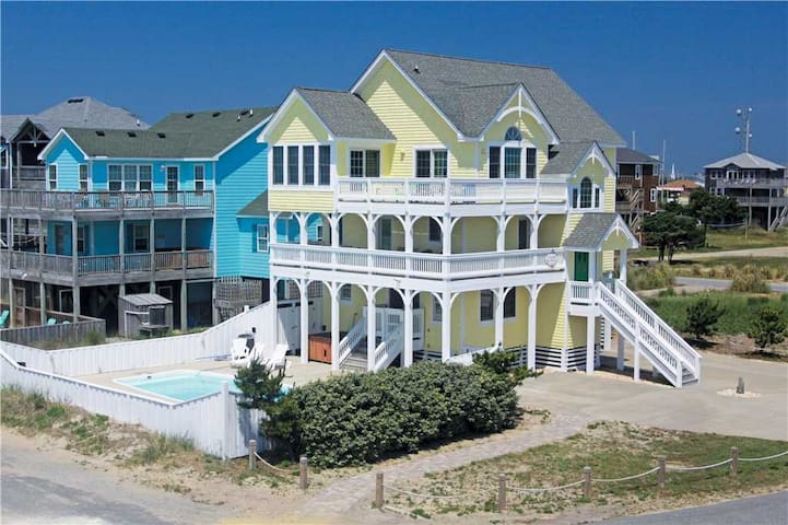 Stunning semi-oceanfront pet friendly home w/Htd Pool&HotTub, Game Table