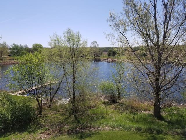 This is the view from the deck of the cottage in early spring.